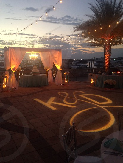 Wedding sunset marina photo