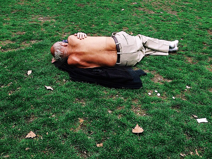 photo of topless man with grey dress pants on green grass during daytime photo