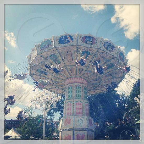 Retro fairground carousel photo