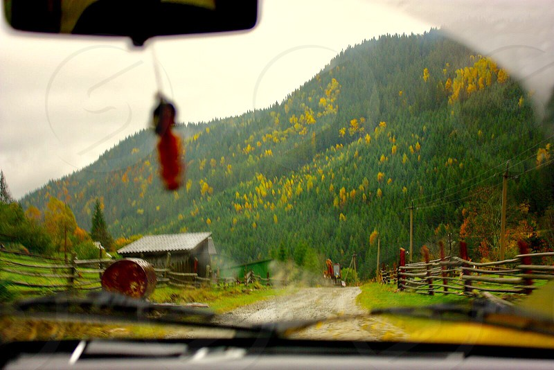 Driving the car in the mountains  photo