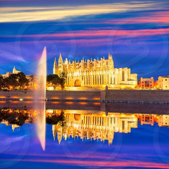 Palma de Mallorca Cathedral Seu sunset in Majorca Balearic islands of Spain photo