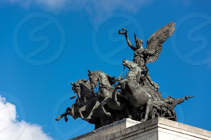 Monument to Wellington in the Middle of Hyde Park Corner Roundabout photo