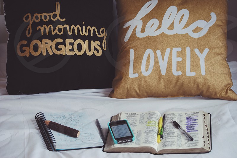 Bedroom pillows bible reading lovely good morning gorgeous phone writing photo