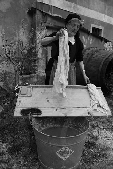 woman washing clothes photo