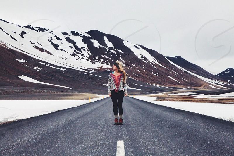 Free spirit on the road. Iceland  photo