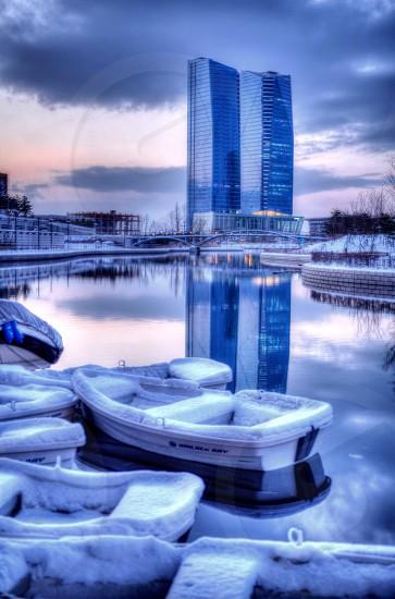 Snowy Boats in Seoul South Korea....... photo