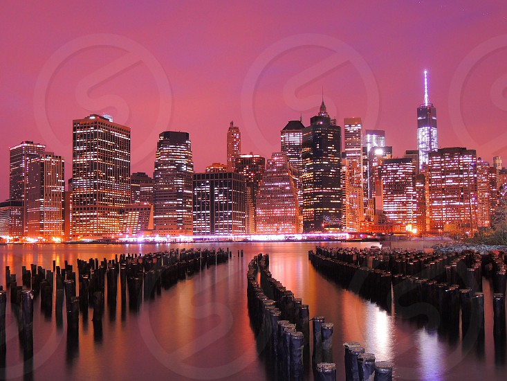 cityscape under pink sky photo