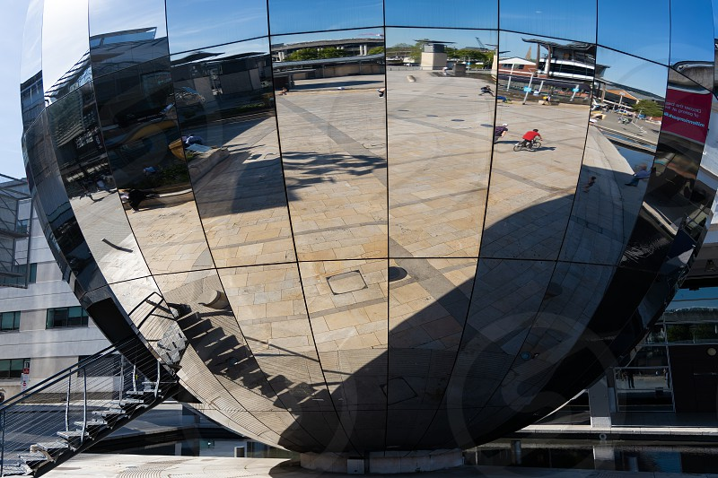 BRISTOL UK - MAY 14 : Large mirror ball sculpture in Millennium Square Bristol on May 14 2019 photo