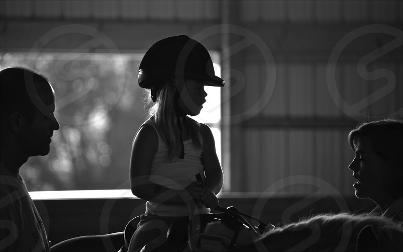 Therapeutic Riding for Children with Disabilities - Black and White photo