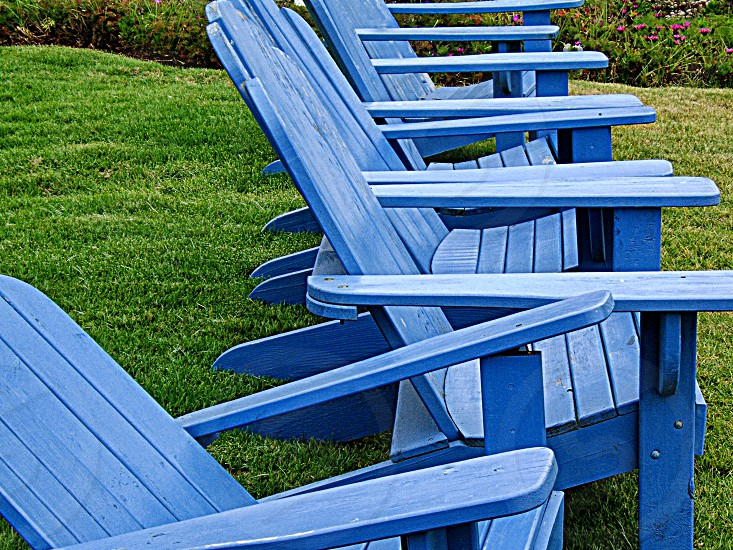 A row of painted Adirondack chairs sit on a green lawn. photo