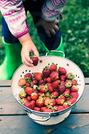 Kid taking a fresh strawberry from bowl of fresh fruits sprinkled raindrops over wooden table photo