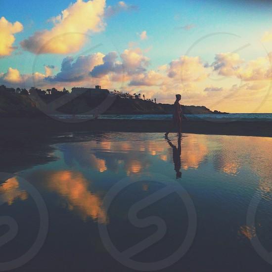 human walking on the water photo