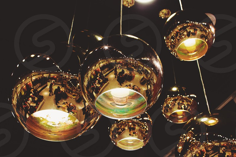 ceiling lamps gold orbes photo
