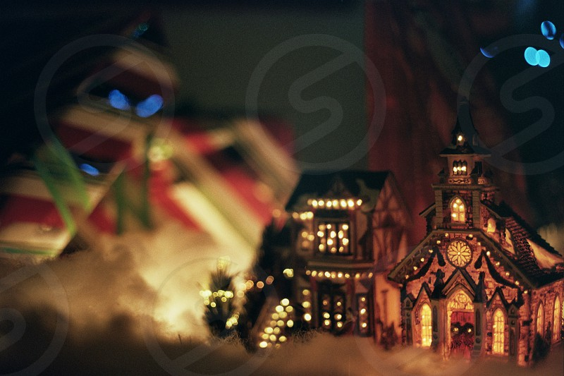 Christmas Village Film Retro Holidays Presents photo