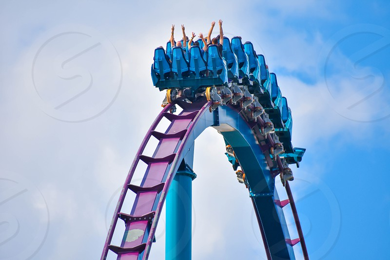 Orlando Florida . February 17  2019 Ride Mako a hyper coaster known for high speeds deep dives and thrills around every turn. at Seaworld (8) photo