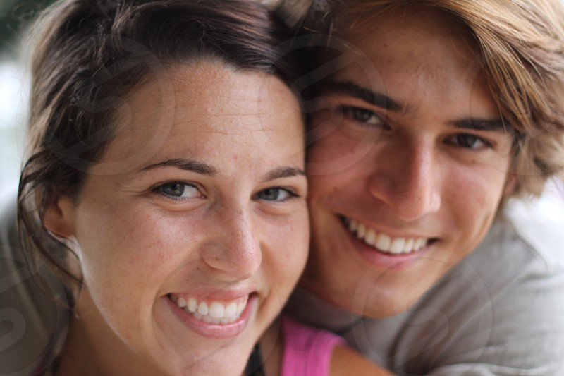 man and woman smiling  photo