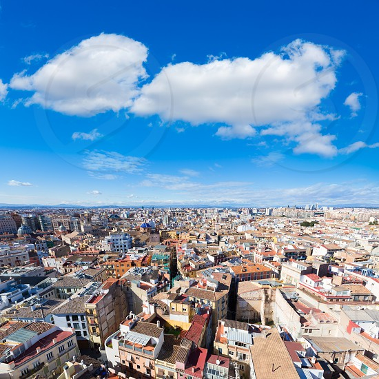 Valencia aerial skyline from el Miguelete tower of Spain photo