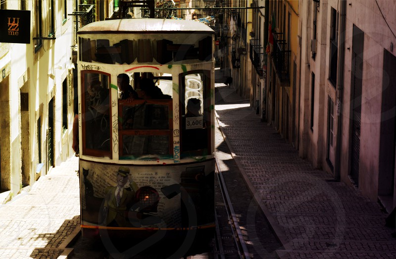 Lisbon tram hill alley uphill picturesque photo