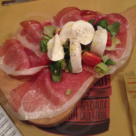 Prosciutto with buffalo mozzarella photo