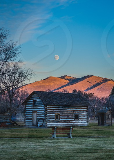 Montana Missoula moon super moon cabin photo