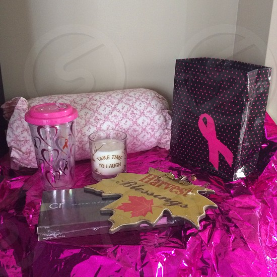 Think pink; pink presents; gifts; breast cancer awareness; fall; pink foil; hoe; pink and white pillow photo