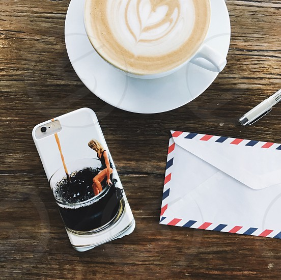 flat lay coffee on the table photo