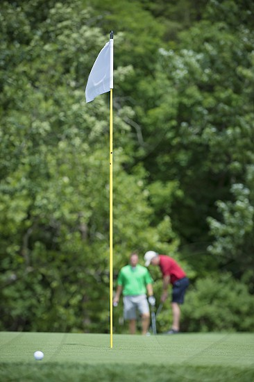 gold putt greensflag golf pair buddies team approach wedge chip photo