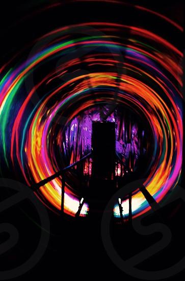 Carnival spinning tunnel dizzy 3D Blacklight spin photo