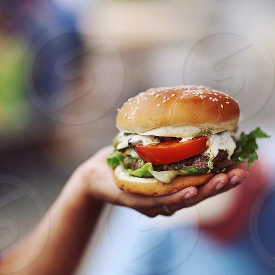 Hamburger. Favorite food. Cheeseburger. Pesto. photo