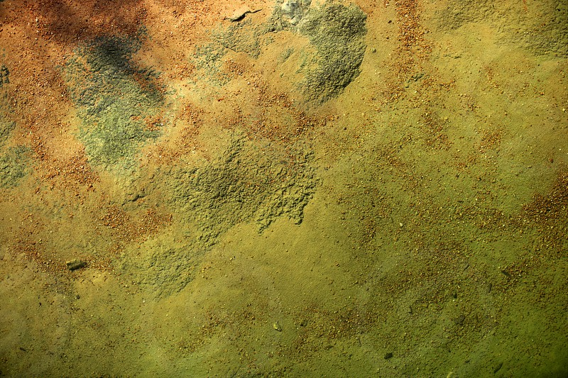 Bottom of a river texture orange and green background  little stones with rusty sand and micro algae photo