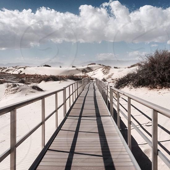 empty wooden foot bridge  photo