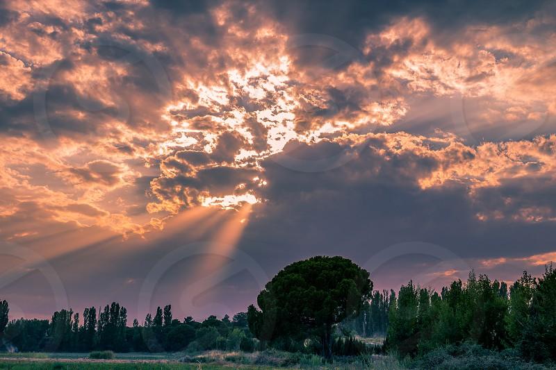 Sunset light rays photo