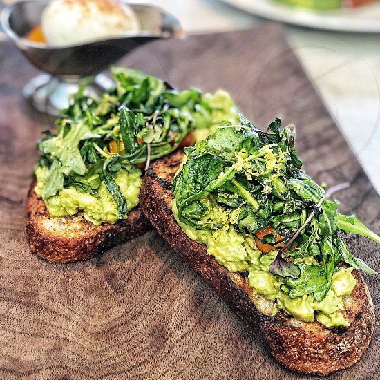 Avocato toast with arugula from RH Rooftop in Manhattan NYC photo
