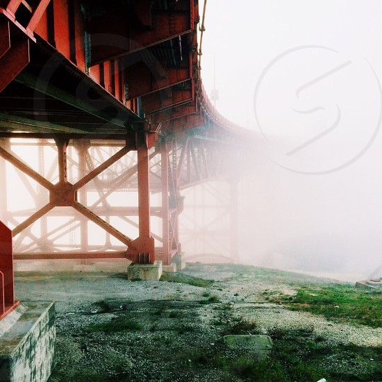 truss bridge on sea view  photo