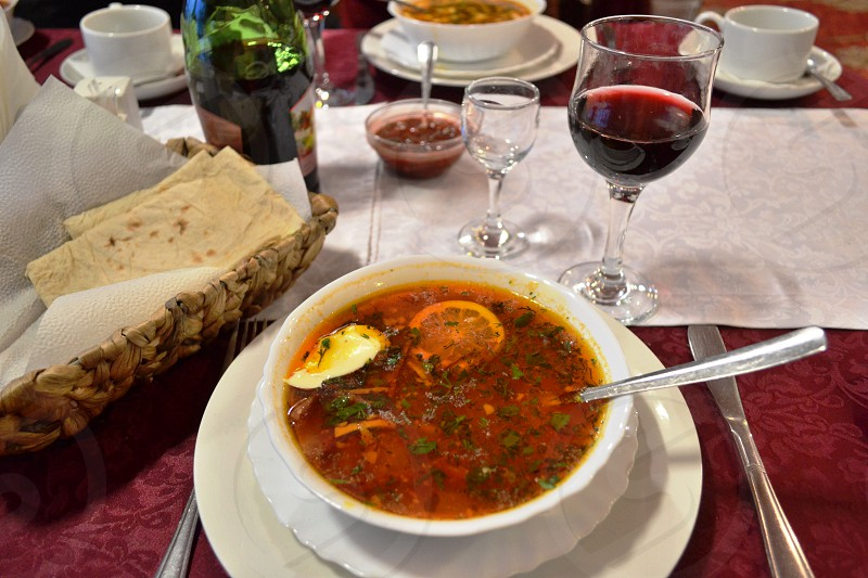 Popular russian food.Soup Solyanka from different kinds of meat photo