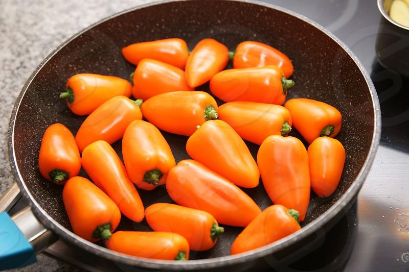 orange paprika pan kitchen cooking photo