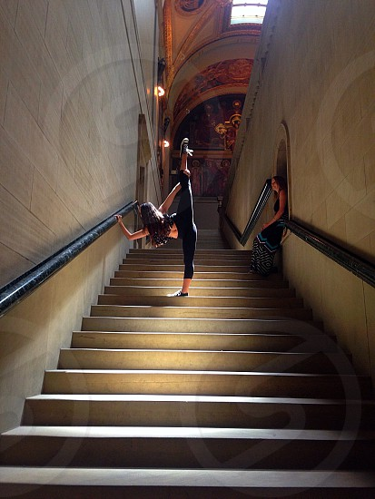 Stretching in The Boston Public Library stairwell... photo