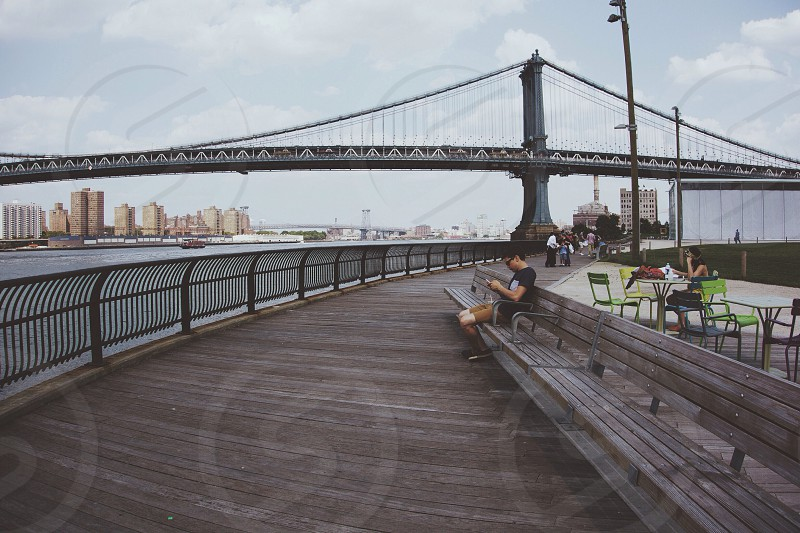 Manhattan Bridge in DUMBO Brooklyn.  photo