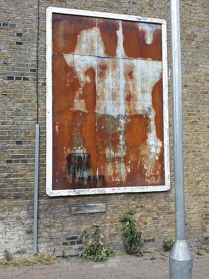Beautiful Decay. Rust. Sign. Blank sign. Sign frame. Brick wall. London photo