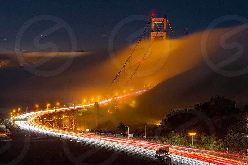 San Francisco Golden Gate Bridge fog long exposure light trails photo