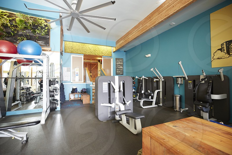 assorted gym equipment with grey 10 blades ceiling fan photo