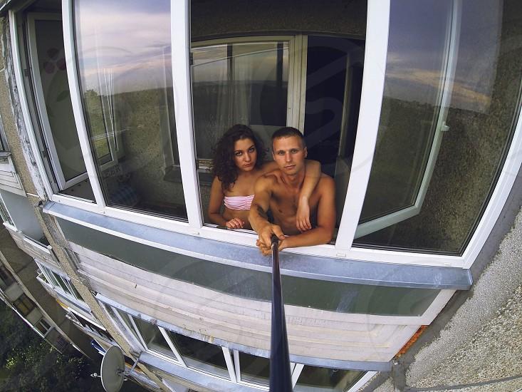 sexy couple gopro hero 3 black edition selfie balcony love fit photo