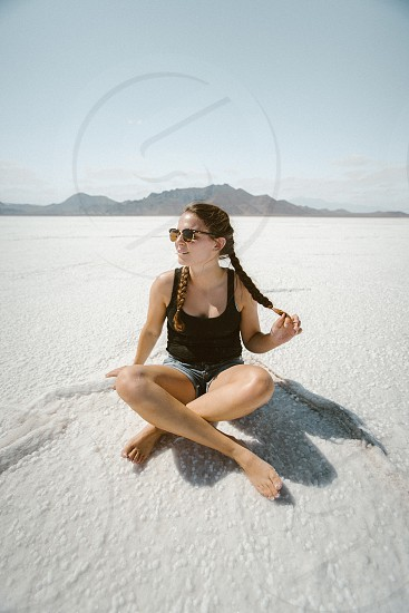 A fun sunny day on the Salt flats of Utah.  photo