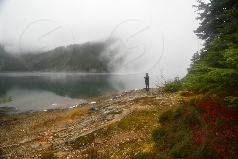 Foggy morning at Marmot Lake in the Alpine Lakes Wilderness Washington. photo