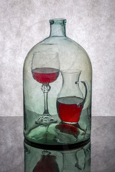 """Still life """"Inner content"""" with glass objects and wine photo"""