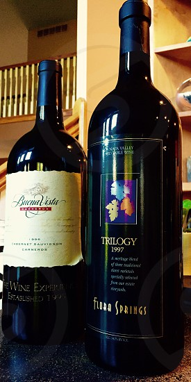 trilogy 1997 flora springs and buenavista cabernet sauvignon wine bottles photo