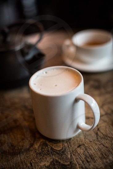 beverage warm drink coffee Cappuccino mug cream mug warmth latte coffee shop chai tea froth milk conversation two meeting discussion photo