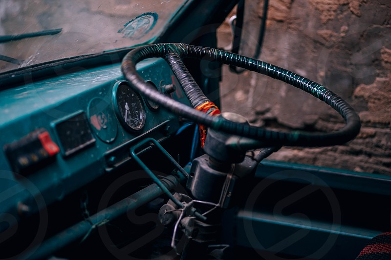 Close up of a truck's steering wheel photo