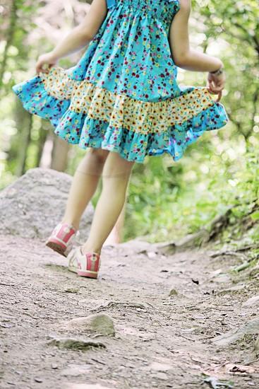 girls blue green multicolored ruffle dress photo