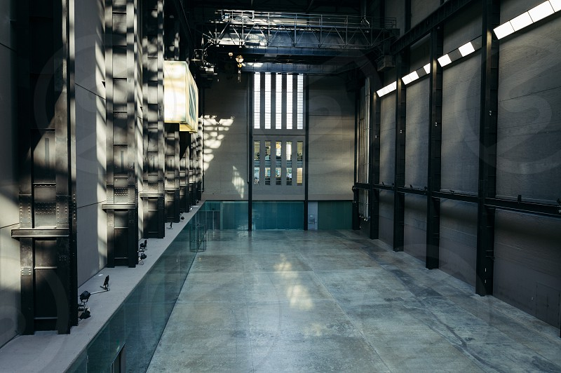 Turbine Hall in Tate Modern Art Gallery interior It is located in the former Bankside Power Station. Empty view photo
